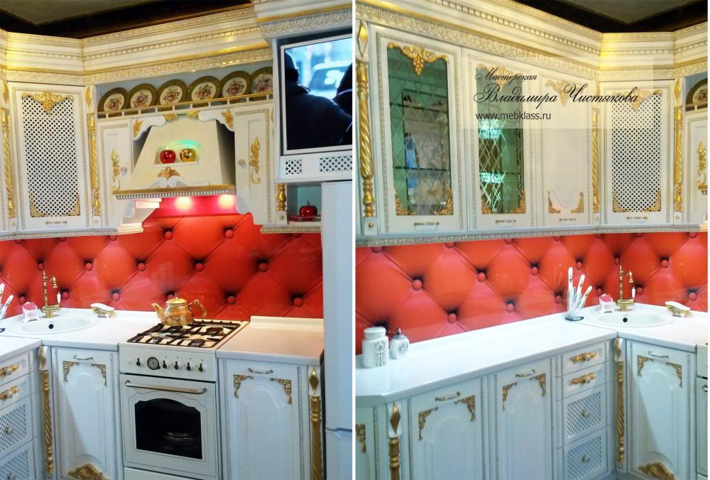 Угловая классическая кухня в белых тонах с патиной «под золото»