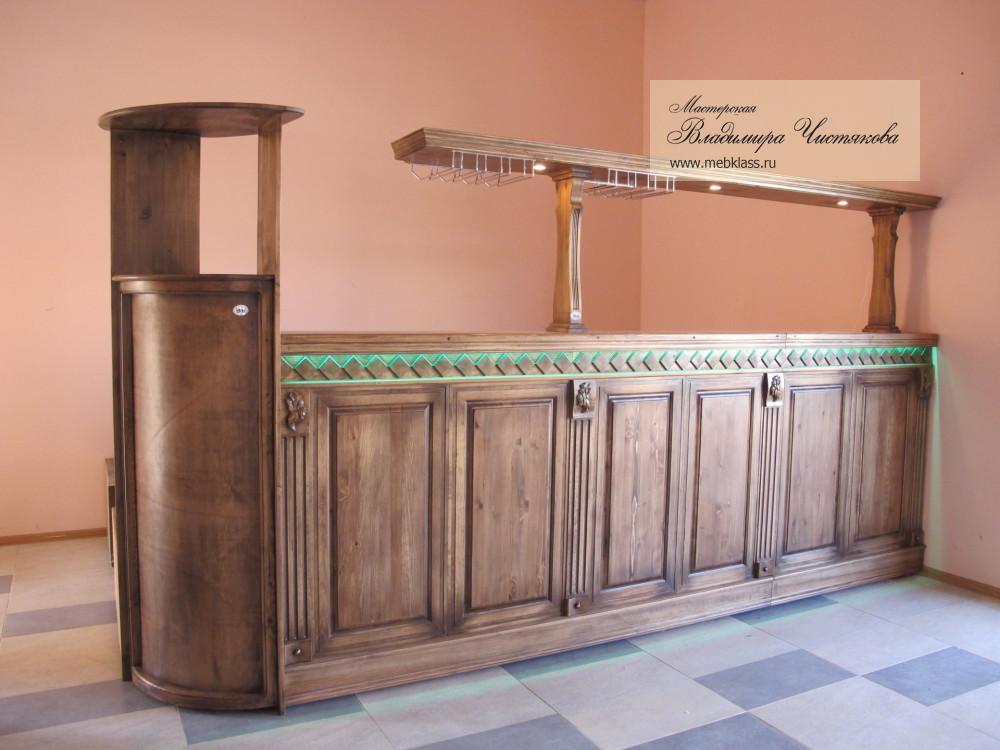 Барная стойка для гостевого дома, а также мебель для гостевого дома из массива