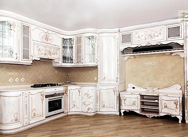 Угловая резная кухня в классическом стиле