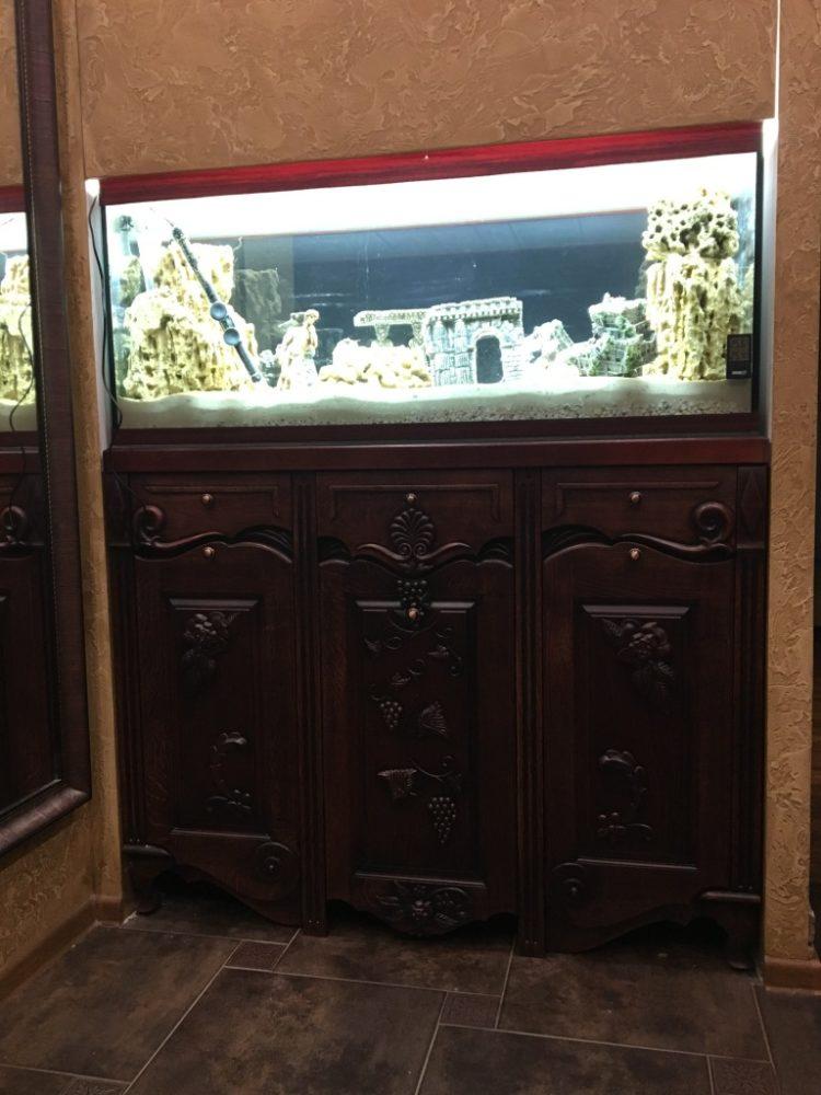 Резной шкаф, мебель для аквариума, подставки с резными узорами под цветы из массива